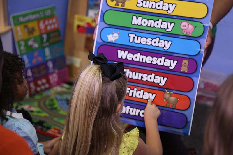 ABA Therapy Houston | Young girl points to days of the week